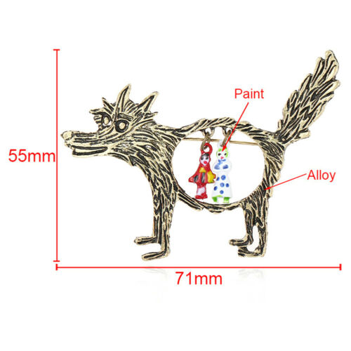 Unique Hollow Wolf Little Red Riding Hood Brooch Pin Collar JewelryDecor