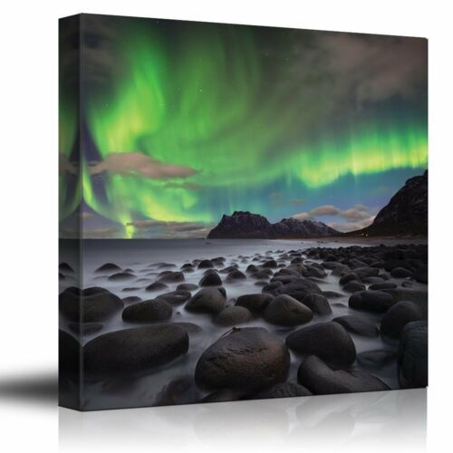 Green Northern Lights Over an Ocean Filled with Rocks Canvas Art 36x36 inches