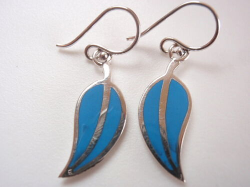 Bleu TURQUOISE FEUILLES 925 Sterling Silver Dangle Boucles d/'oreilles