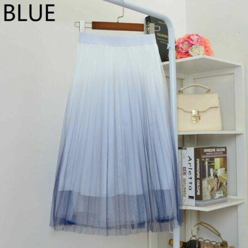 Rock Midi Kleid Netz Tüll Schier Plissiert A-Linie Farbverlauf Fee Lolita