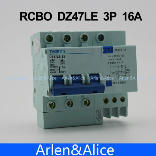 DZ47LE 3P 16A 400V~ 50HZ//60HZ Residual current Circuit breaker RCBO