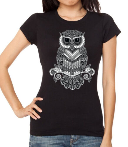 Junior/'s Black /& White Night Owl T Shirt Women/'s Geometric Tribal Graphic Tee