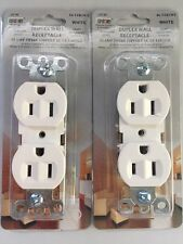 Two Duplex Wall Plug Outlet Receptacle White UL Listed 15AMP 3 WIRE 120VOLT