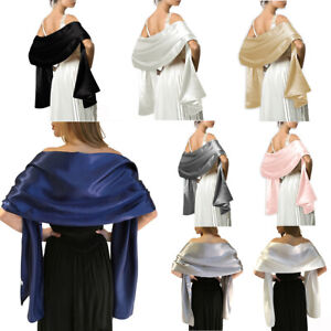 Soft-Silky-Satin-Scarf-Shawl-Stole-Ladies-Gifts-Bridal-Bridesmaid-Party-45x175cm