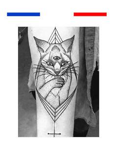 Tatouage Temporaire Ephemere Realiste Chat Style Gothique