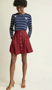 Modcloth-Button-Front-Rayon-You-Sassy-Thing-Skater-Skirt-in-Maroon-Women-s-L