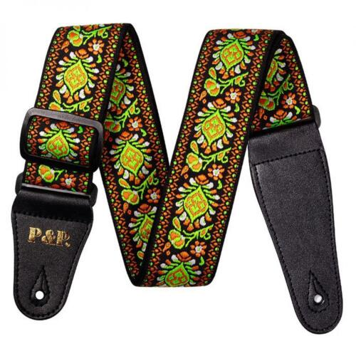 Vintage Flowers Stripes Guitar Strap with Woven Embroidery Fabrics for Guitar