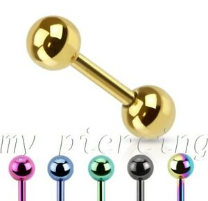 """16G~1//4/"""" Titanium Anodized Steel Earring Tragus Helix Cartilage Barbell 2pcs"""