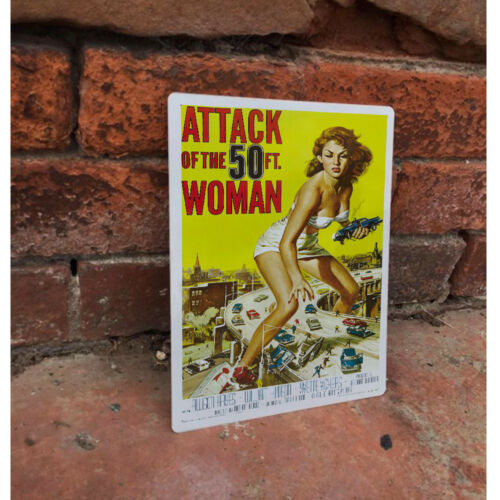 VINTAGE ENAMEL METAL TIN SIGN WALL PLAQUE Attack Of The 50ft Woman