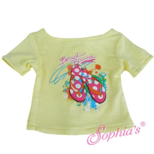 """Sale YELLOW FLIP FLOP T-SHIRT features /""""BEACH BOUND/"""" fits American Girl"""