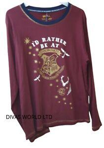 Harry-Potter-Hogwarts-T-shirt-Top-Burgundy-Colour-Womens-Ladies-T-shirt