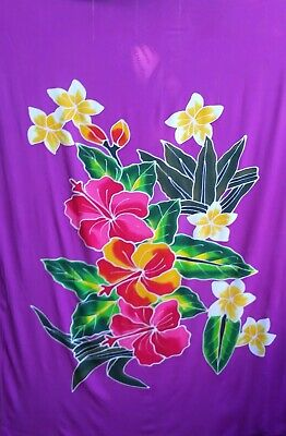 Sarong Hand Painted Bali White Floral Pareo Dress Skirt  Beach Cover Up Wrap