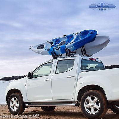 HEAVY DUTY KAYAK CANOE CAR ROOF RACK J-BARS + TIE DOWN STRAPS - FOLD AWAY BAR