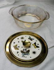 george briard / fire king casserole / gold flecks / enamel lid w/ butterflies nr