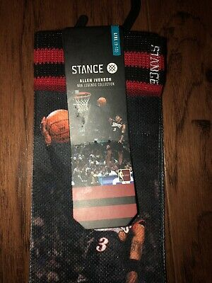 Stance Men/'s L//XL NBA Legends Allen Iverson Basketball Sixers 76ers Crew Socks