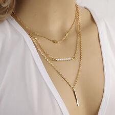 Fashion Gold Chain Choker Chunky Statement Bib Pendant  Necklace Jewelry Charm
