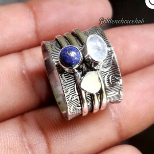 925 Sterling Silver Band Lapis Lazuli Spinner Ring,Handmade,Ring All size-vi-134