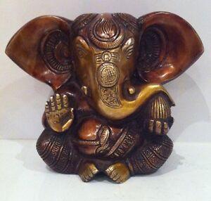 GANESHA-Large-12-7x16-5cm-lourd-elephant-Dieu-Hindouisme-laiton-antique-Statues