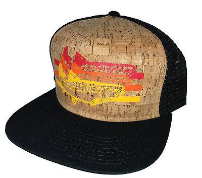 Trout Charcoal Aqua  Striped  Snapback Mesh Trucker Hat Cap Fly Fishing