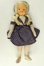 "Vintage POLAND Refugee Doll Cloth Body Mohair Wig Face Mask Original Clothes 15"""