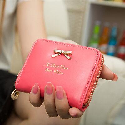 Hot Women Fashion Mini Faux Leather Purse Zip Around Wallet Card Holders Handbag