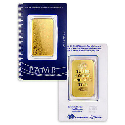 PAMP Suisse 1 Troy Oz .9999 Gold Bar - New Design - Sealed w/Assay Cert SKU32617