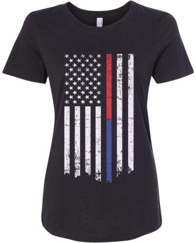 Threadrock Women/'s Red Blue Line Flag T-shirt Firefighter Police