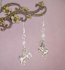 Pretty 3D Unicorn Charm AB Crystal Dangly Earrings - Faerie Fantasy Myth Magic