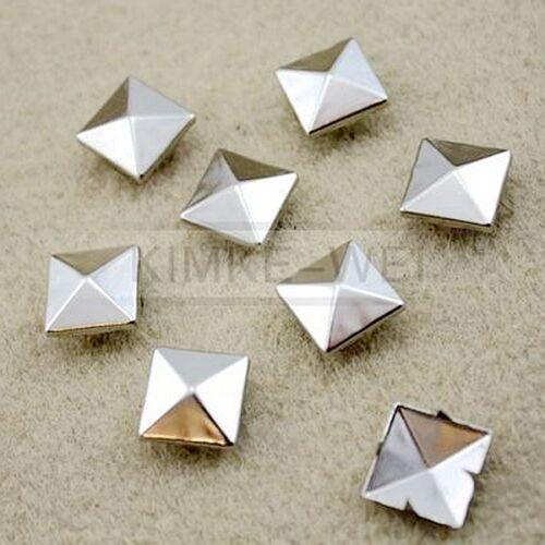 100 x Metal pyramid silver studs 15mm stud Rivet Punk spike spots Diy