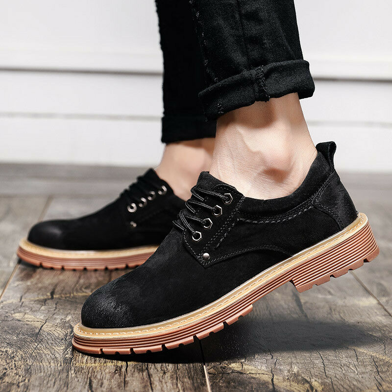 Size Men Lace Up Suede Leather Punk Motorcycle Oxford shoes British Casual shoes