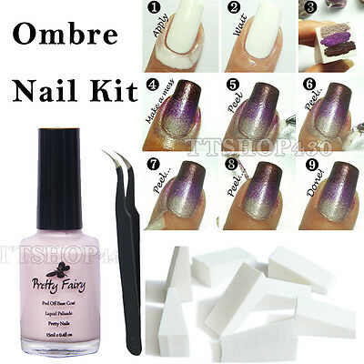 15ml Nail Art Peel Off Liquid Tape Palisade Polish Clean Tweezer Gift Kit Set