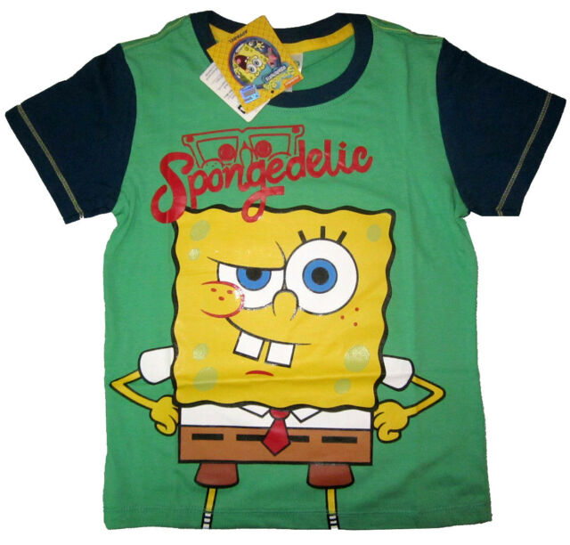 Kids SPONGEBOB green short sleeve cotton t-shirt Size 4,6,8,10 Age 4-7y FreeShip