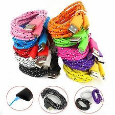1M 3ft Braided Fabric Micro USB Data&Sync Charger Cable Cord For Samsung 18a16