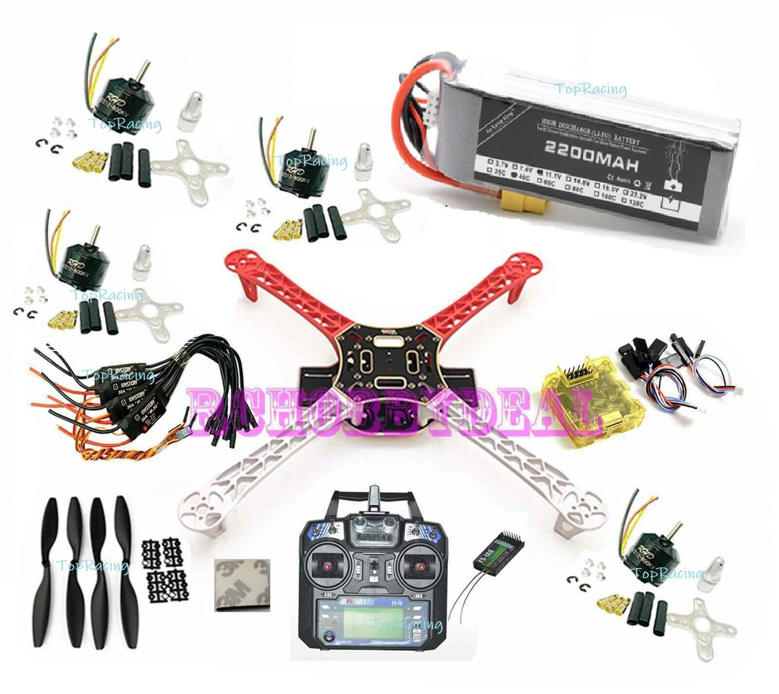 Kit para Armar uno mismo F450 Cuadricóptero RC Marco CC3D RHD Motor 30A ESC Prop i6 3s Batería Lipo