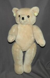 "Kel-Toy Girl Teddy Bear With Earrings fully jointed beige 24"" tall"
