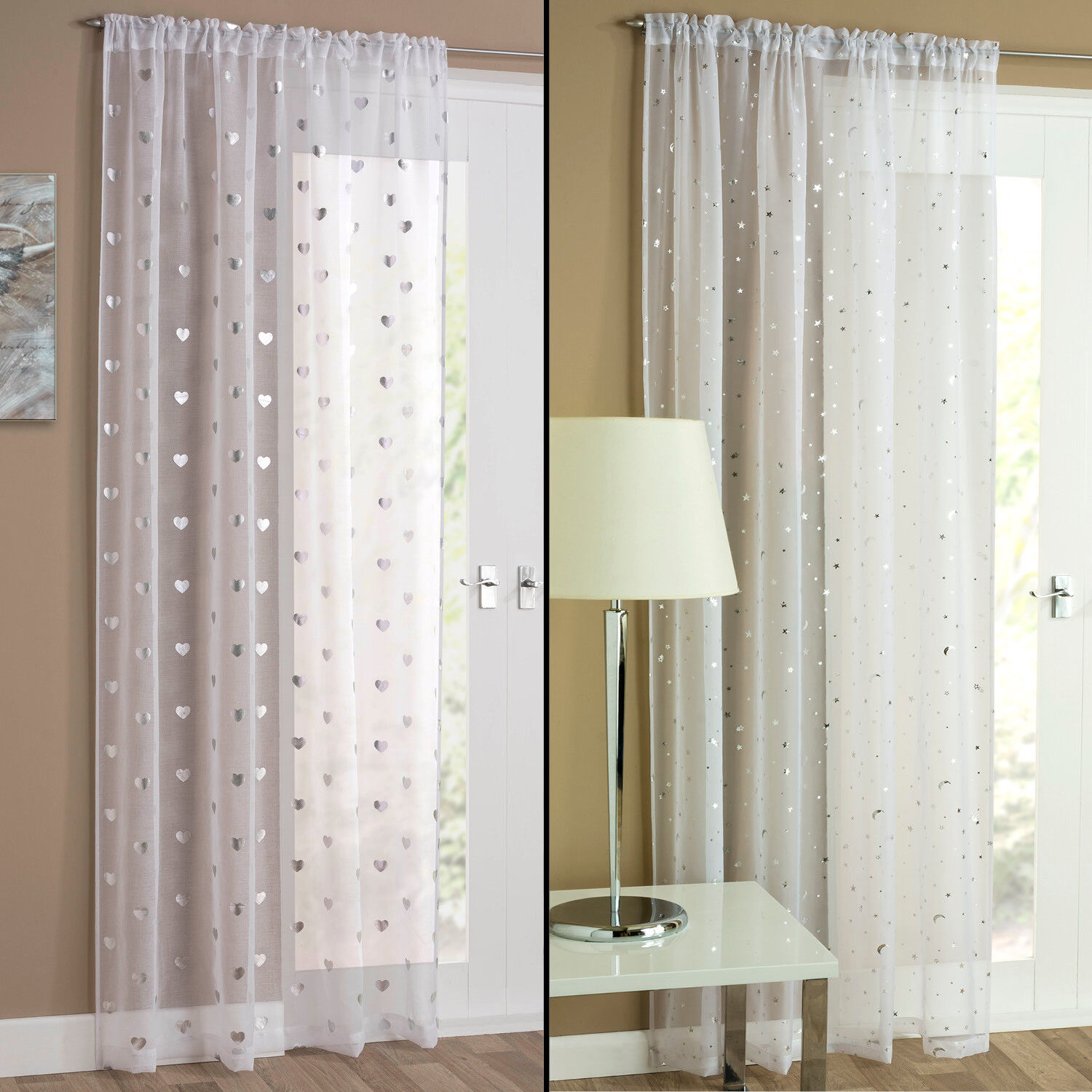 tyrone sheer net curtains with metallic foil silver. Black Bedroom Furniture Sets. Home Design Ideas