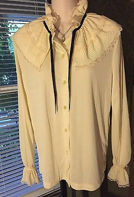 Vintage COSTUME Ivory Long sleeve Ornate Collar & Cuffs Button Up Blouse Size M