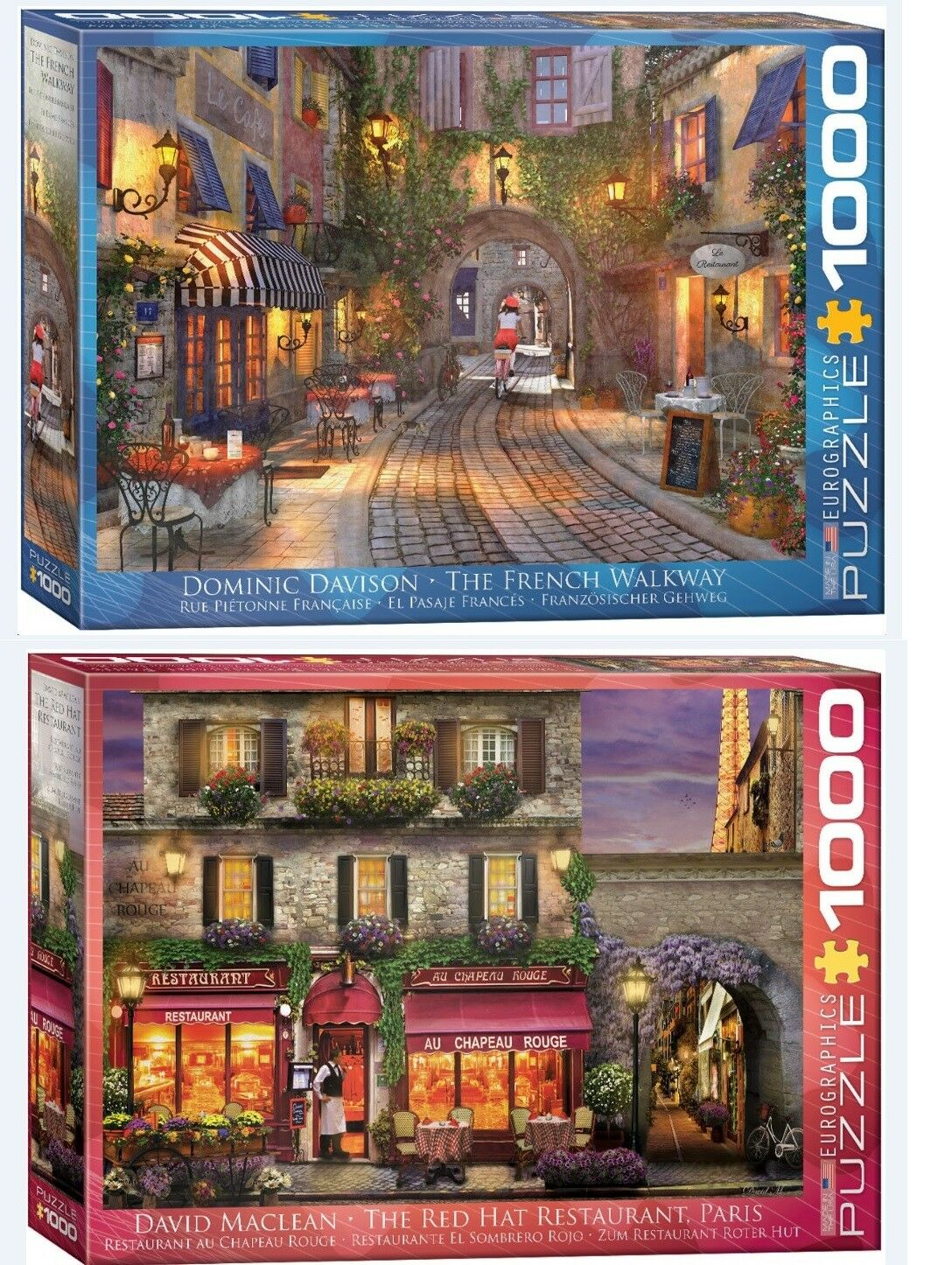 2 Eurographics puzzles 1000 pcs The French Walkway  + The Red Hat Restaurant