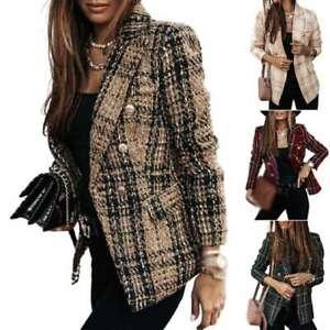 Jacket Outwear Check Plaid Long Sleeve Tweed Duster Tartan Womens Blazer Coat