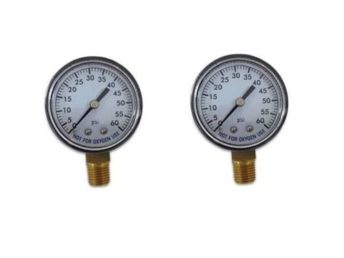 "2 x Pool Spa Filter Water Pressure Gauge 0-60 PSI 1//4/"" Pipe Thread Bottom Mount"