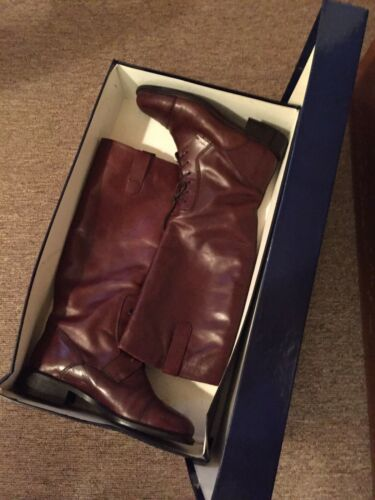 JOAN & DAVID Italy Cognac Leather Lace Up Knee Hig