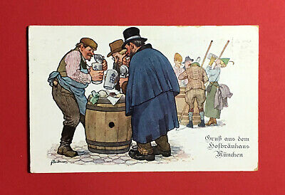 Begeistert Reklame Ak MÜnchen Um 1930 Hofbräuhaus Bier Bierkrug Deutschland 48643 Festsetzung Der Preise Nach ProduktqualitäT Sammeln & Seltenes