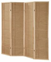 3 & 4 Panel Rattan In-lay Wooden Screen Room Dividers Natural Finish