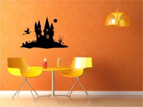 Halloween Wandtattoo Gruselhaus mit Hexe und Friedhof Wandaufkleber Neu