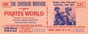 THE CHAMBERS BROTHERS 1970 TOUR UNUSED PIRATES WORLD CONCERT TICKET / NMT 2 MINT