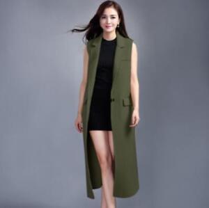 Manteau Genou Veste Sz Vest Boutons Mode Costume De Longueur Long Femmes Gilet Revers AxEq0Oa1