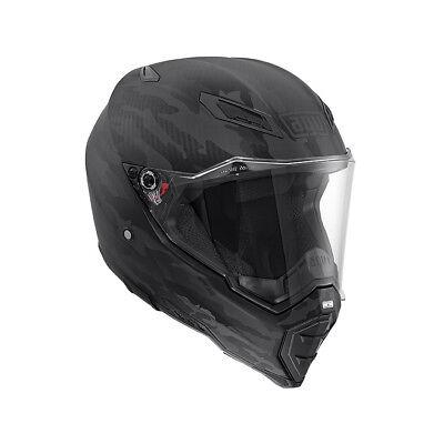 AGV AX-8 Naked Carbon Fury Motorcycle Helmet XS Black Biker Urban Touring Enduro