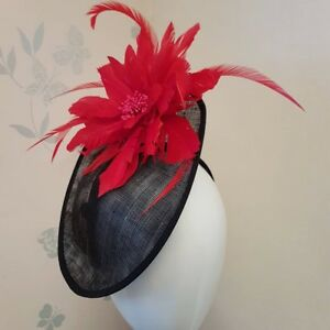 Image is loading Black-Sinamay-fascinator-headband-with-Large-Red-Feather- 7907a722df4