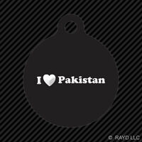 I Love Pakistan Keychain Round With Tab Dog Engraved Many Colors