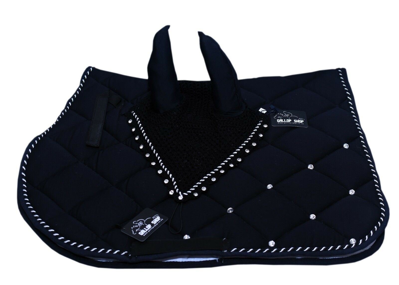 General Horse Saddle Pad  Fly Veil Set Vented Cotton Honeycomb Fabric with Jewel  first-class service